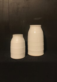 White Ridged Jar