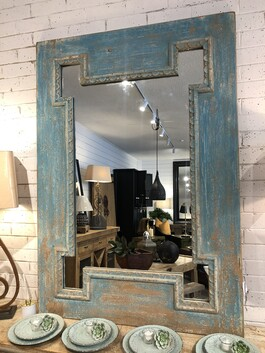 Blue Washed Pine Mirror