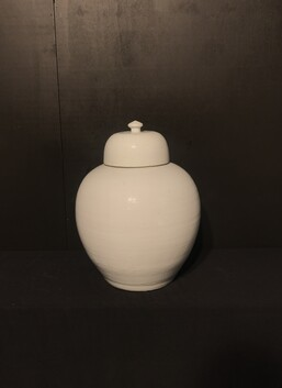 Large White Jar with lid